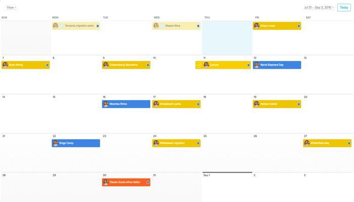 Social media marketing content calendar