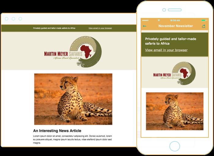 Email newsletter design for safari lodge