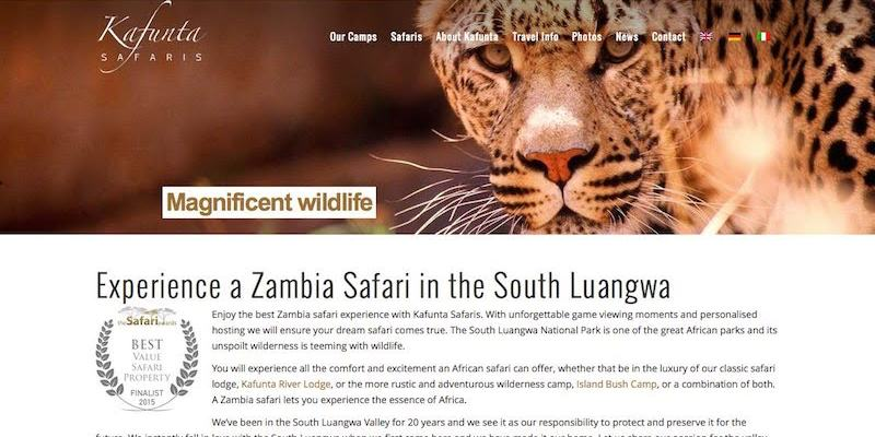 Kafunta Safaris website banner