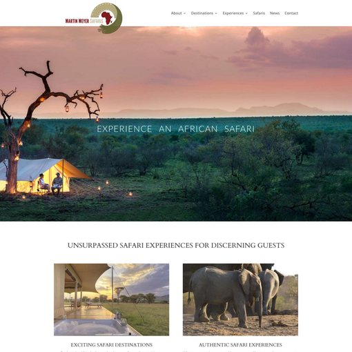 Safari tour operator website design