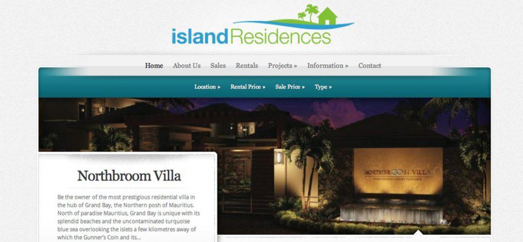 Island Residences website design