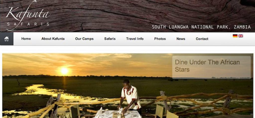 Kafunta Safaris web design