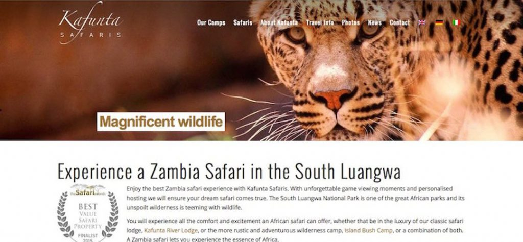 Kafunta Safaris website design