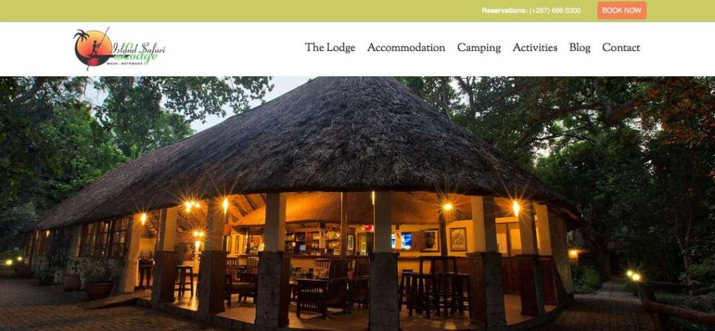 Island Safari Lodge website banner