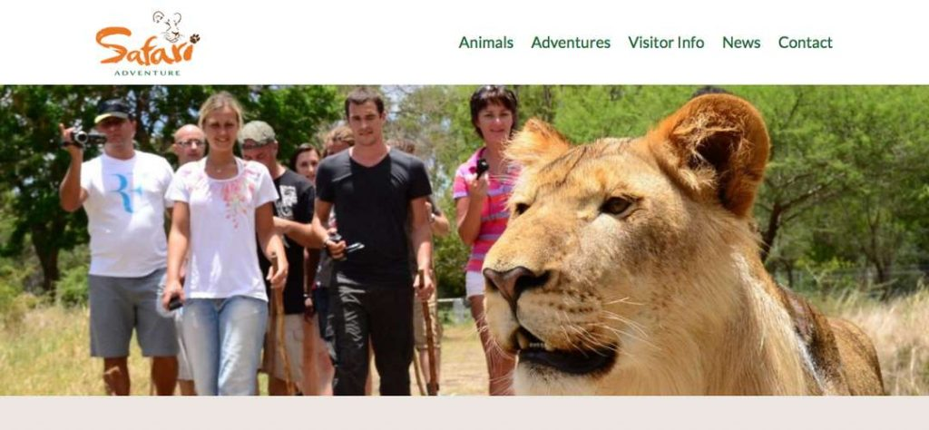 Safari Adventures game park website design