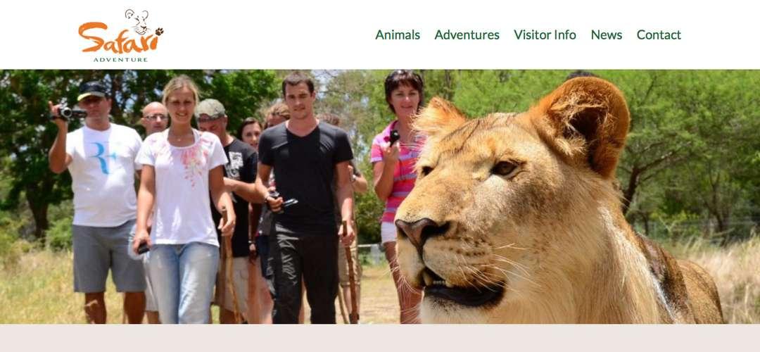 Safari Adventures game park website design
