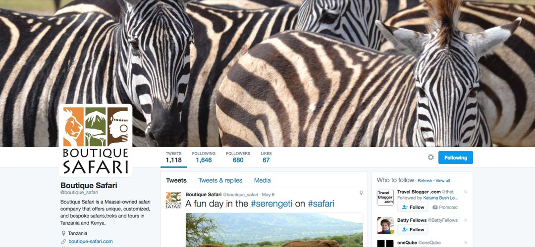 Boutique Safaris Twitter account