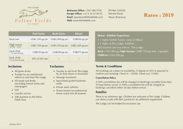 Rates Sheets