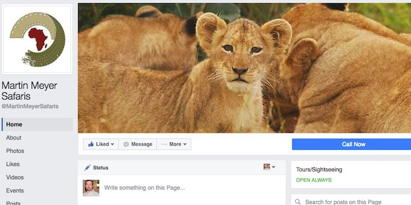 Martin Meyer Safaris Facebook page banner