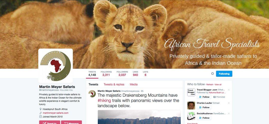 Martin Meyer Safaris Twitter page