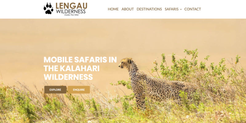 Lengau Wilderness website header