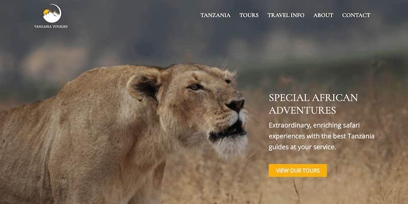 Tanzania Voyages website hero